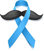 Movember - prostate cancer awareness month. Men's health concept. Moustaches and blue ribbon symbol. Good for poster, banner, card design.