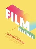 Movie and film modern gradient poster background. Design element template can be used for backdrop, brochure, leaflet, publication, vector illustration