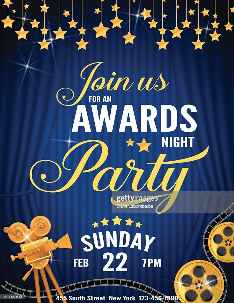 Movie Awards Night Party Invitation Template Vector Art