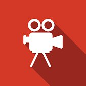 movie camera icon with long shadow