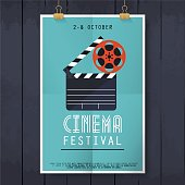 Movie Cinema Festival Poster Flat Design Modern Vector Illustration Concept
