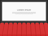 Movie cinema premiere poster design with screen and auditorium. Rows of cinema or theater seats with people looking at the screen. Dark hall background. Flat design realistic vector illustration.