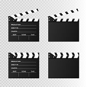 Movie clapper isolated on white. Black open clapperboard. Vector illustration. Video icon. Film making industry