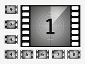 The timer countdown cinema isolated Movie countdown numbers vector set