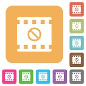 Movie disabled flat icons on rounded square vivid color backgrounds.