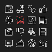 Movie, film production line icons. Cinema icons. Modern graphic elements, minimal simple outline stroke thin line design symbols. Vector icons set