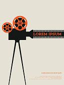 Movie film reel and filmstrip vintage poster background vector illustration
