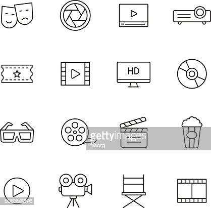 Linea icone di film : Arte vettoriale