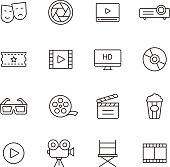 Cinema and movie line icons