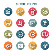 movie long shadow icons, flat vector symbols