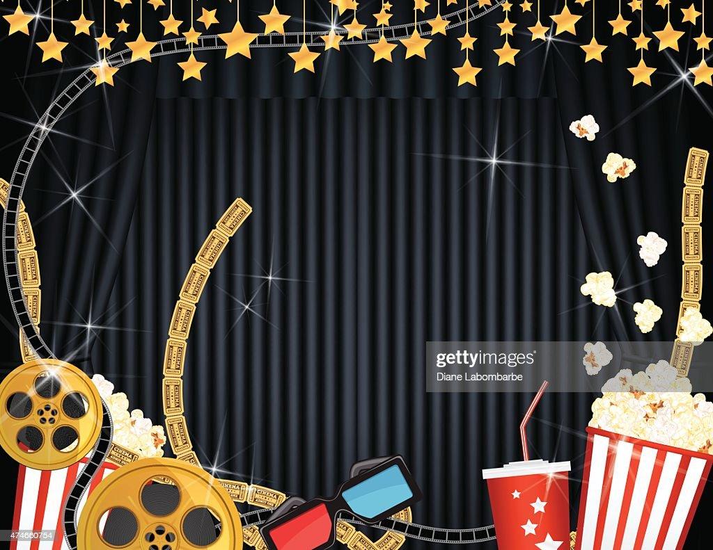 Items similar to Movie Night Theater Scrapbook Border Set ...  |Movie Night Page Background