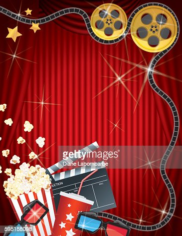 Movie Night Background Black Curtain And Film Vector Art ...  |Movie Night Page Background