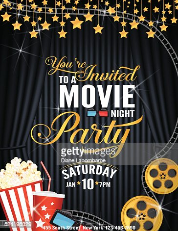 Movie Night Party Invitation Template With Black Curtain