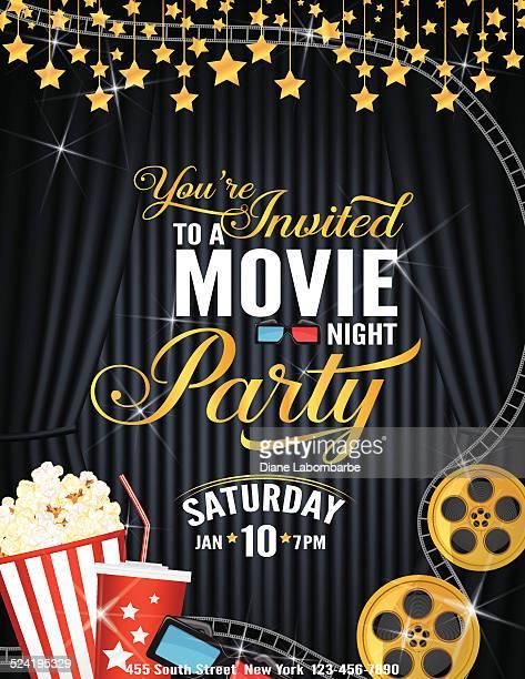Filmnacht-Party-Einladung Vorlage mit schwarzen Vorhang und Film