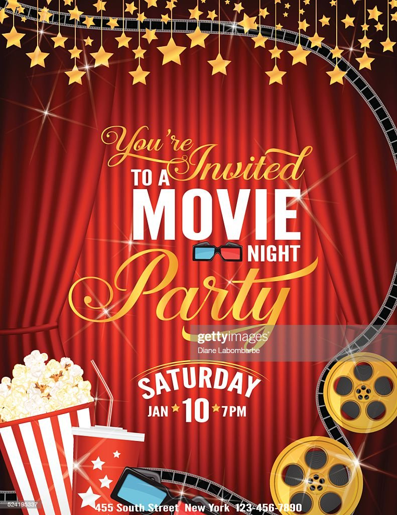 movie night party invitation template with red curtain and