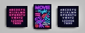 Movie Night poster design template in neon style. Neon Sign, Light Banner, Flyer, Design Postcard, Promotional Brochure, Neon Night Cinema Advertising. Vector Illustrations. Editing text neon sign.