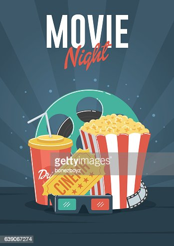 Movie Night : Vector Art