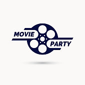Movie party emblem. Modern cinema sign. Vector illustration in flat style