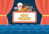 Movie premiere poster deisgn with cinema curtains, seats and sign. Flat stylish vector illustration