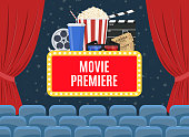 Movie premiere poster design with cinema curtains, seats and sign. Vector illustration in flat style