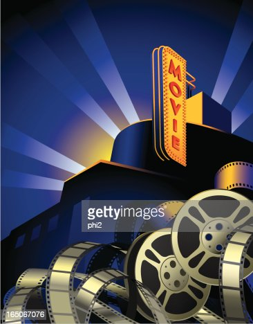 movie reels film stripes and art deco movie theater vector vector art getty images. Black Bedroom Furniture Sets. Home Design Ideas