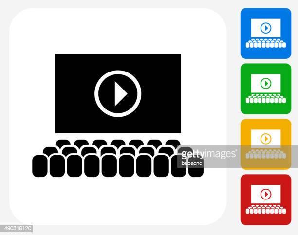 Movie Screen Icon Flat Graphic Design
