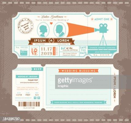 Movie Ticket Wedding Invitation Design Template : Vector Art
