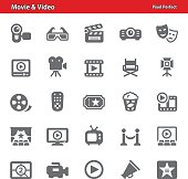 Professional, pixel perfect icons depicting various movie and video concepts.