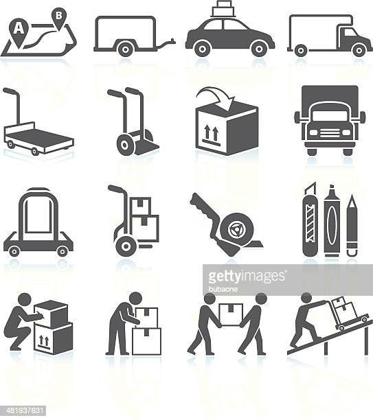 Moving and Movers Service black & white vector icon set