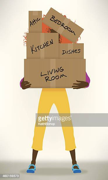 Moving Day - Girl with Cardboard Boxes Background, Relocation