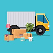 Moving truck and cardboard boxes. Moving House. Transport company.