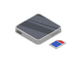 Mp3 player device isometric 3D icon. Digital technologies, mobile computer gadget, multimedia equipment vector illustration