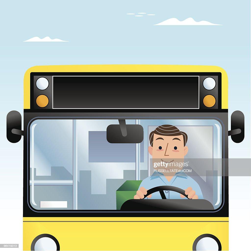 Mr Bus Driver Man : Vector Art