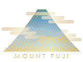 Mt. Fuji decorated with traditional Japanese patterns, vector illustration.