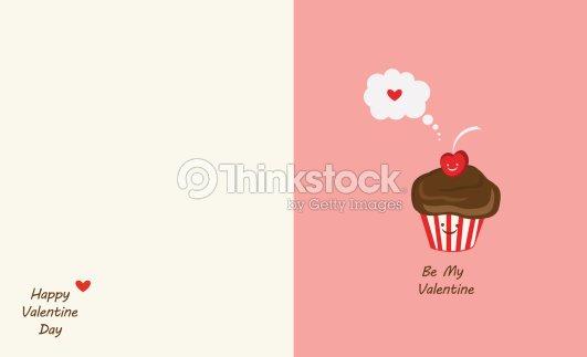 Muffin Und Cherry Beste Freunde Happy Valentinstag Vektorgrafik