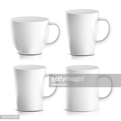 Mug Mock Up Set Vector. Realistic Ceramic Coffee, Tea Cup Isolated. Classic Cafe Cup Illustration. Good For Branding, Corporate Identity : stock vector