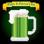 mug with green beer. St.Patrick 's Day greteeng card. Pixel art. Old school computer graphic style. Games elements.