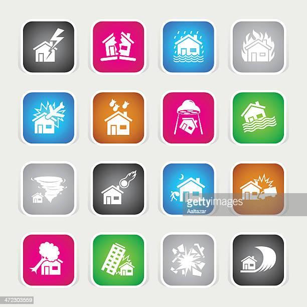 Multicolor iconos de casa catástrofe