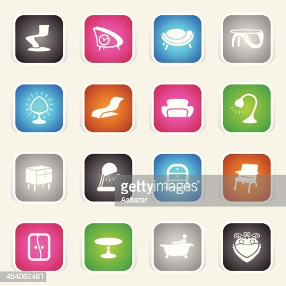 Furniture icons vector art getty images - Multicolor Icons Retro Furniture Vector Art Getty Images