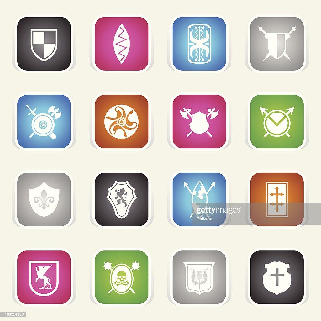 Multicolor Icons - Shields : Vector Art