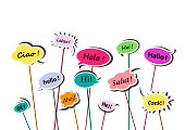 multicolor speech bubbles with greetings in various European languages isolated on the white background, horizontal vector illustration