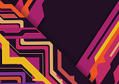 Multicolored  abstract geometric on purple background with copy space, Vector illustration.