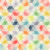 Multicolored angular wattled pattern background. Geometric bonded retro mosaic.