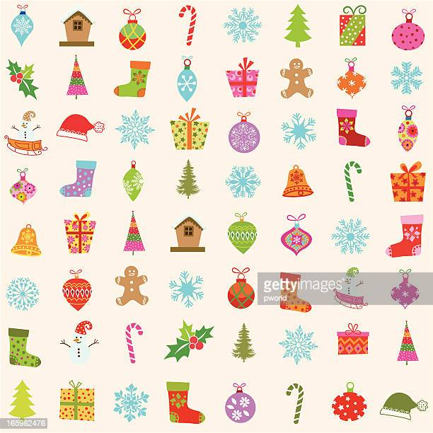 Multicolored drawings of Christmas items