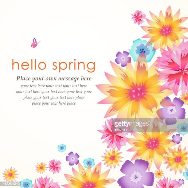 Multicolored floral brochure with hello spring text on it