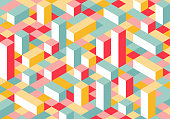 Modern Flat Isometry Background. Colorful Vector Texture with Parallelepipeds.
