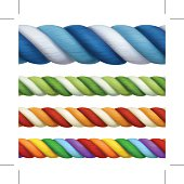 Multicolored ropes, vector design elements seamless horizontal