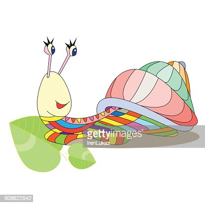 Multicolored snail vector illustration cartoon character, patchw : Vector Art