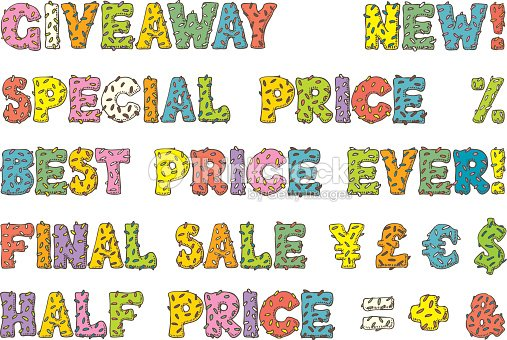 multicolored words for sales in donut style vector art thinkstock