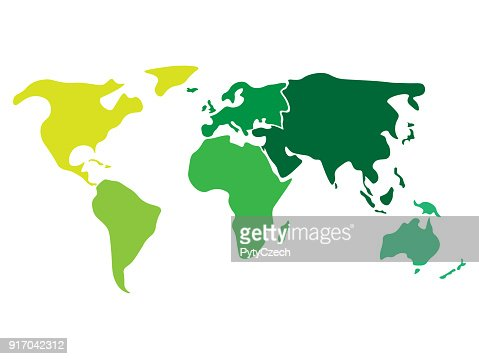 Multicolored world map divided to six continents in different colors - North America, South America, Africa, Europe, Asia and Australia Oceania. Simplified silhouette blank vector map without labels : Arte vetorial